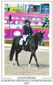 Julie Payne  at the European Championships, riding Di Redfern's Athene Lindebjerg.